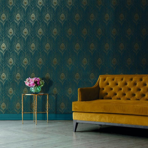Absolutely Chic Blue and Gold Peacock Feather Wallpaper