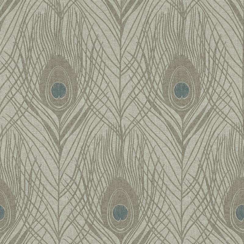 Absolutely Chic Grey and Beige Peacock Feather Wallpaper