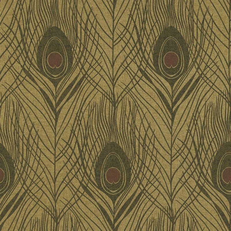 Absolutely Chic Ochre Peacock Feather Wallpaper
