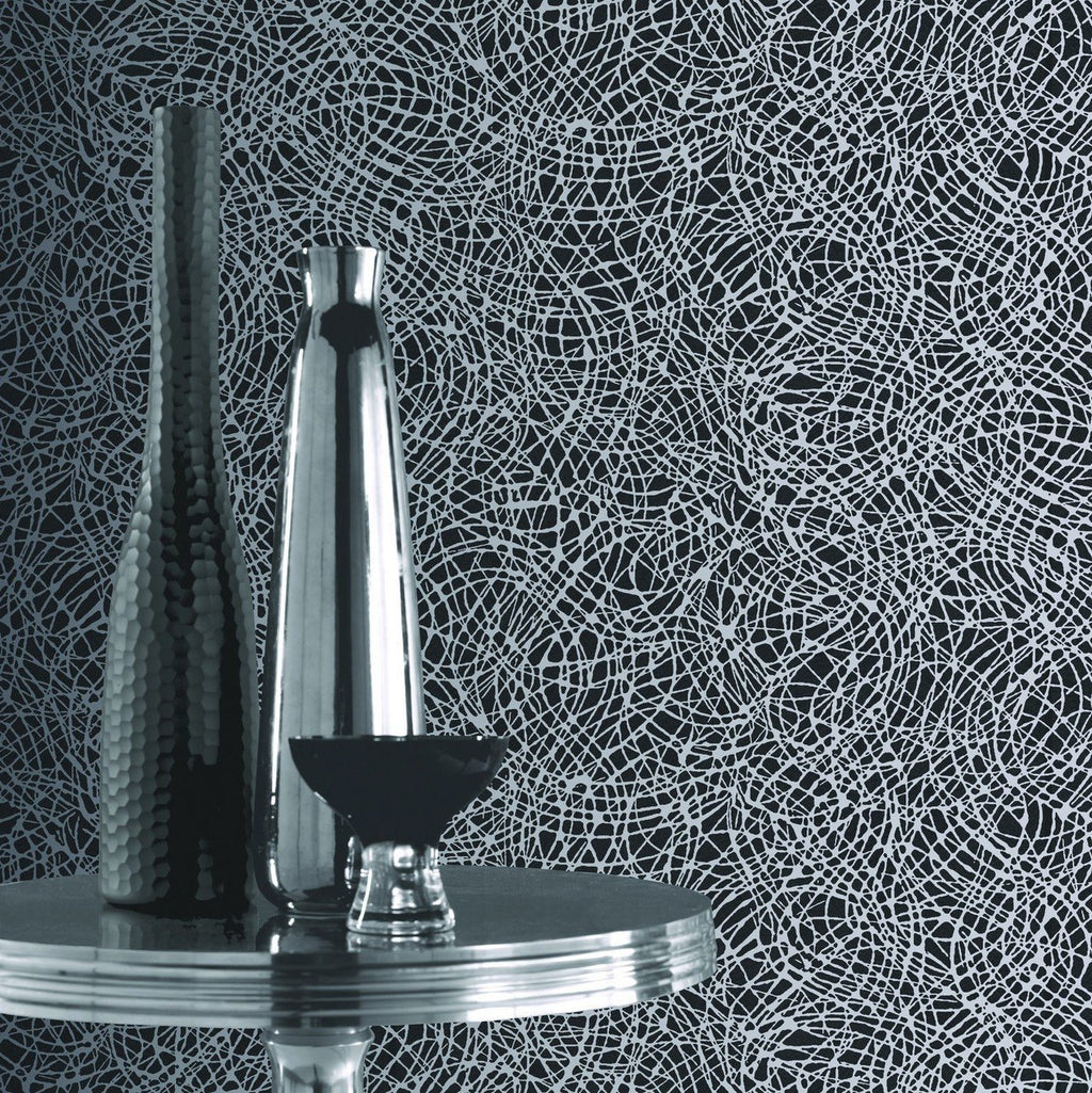 Arthouse Wallpapers Black and Silver Foil Swirl Wallpaper
