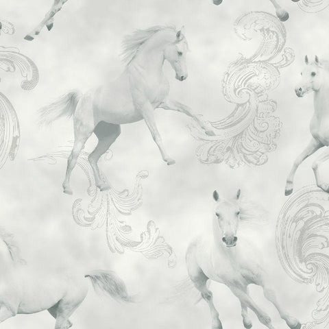 Arthouse Wallpapers Camarillo Grey / Silver Horses Wallpaper