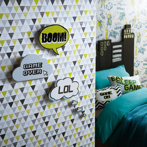 Arthouse Wallpapers Jester Lime Green & Black Triangles Wallpaper