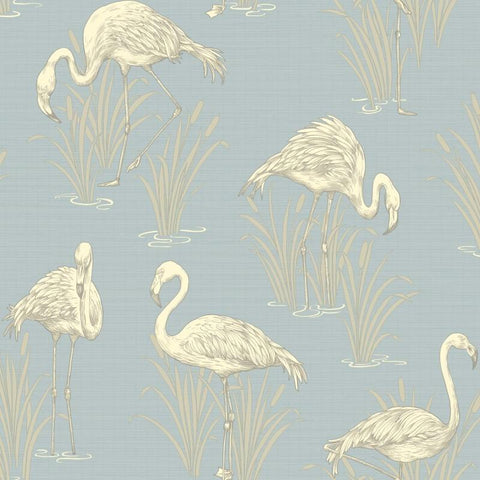 Arthouse Wallpapers Lagoon Soft Blue Flamingo Wallpaper