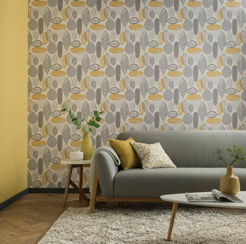Arthouse Wallpapers Malmo Leaf Ochre Wallpaper
