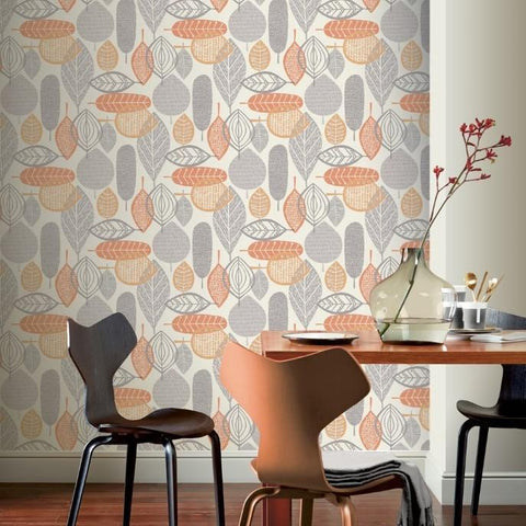 Arthouse Wallpapers Malmo Leaf Orange Wallpaper