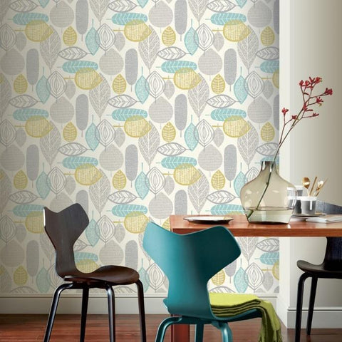 Arthouse Wallpapers Malmo Leaf Teal Wallpaper