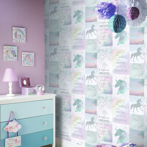 Arthouse Wallpapers Pink & Blue Believe in Unicorns Wallpaper
