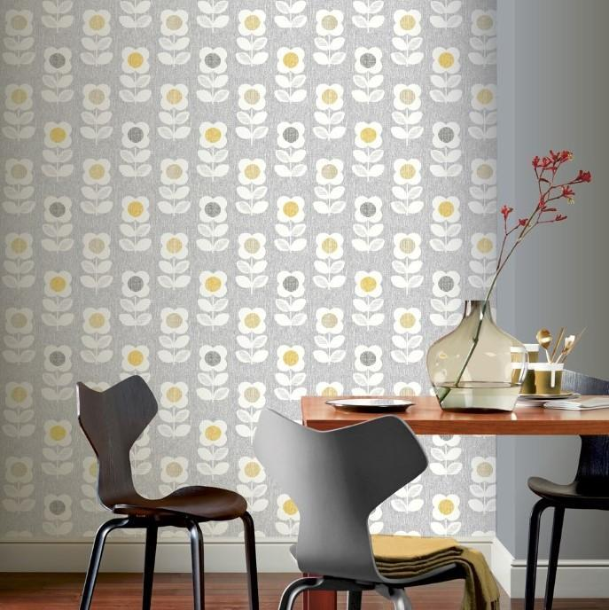 Arthouse Wallpapers Retro Flower Grey and Yellow Wallpaper