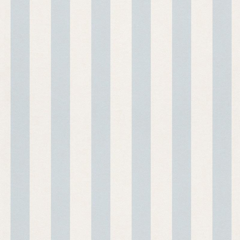 Bambino Baby Blue And White Stripe Wallpaper By Rasch 246025