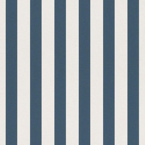 Bambino Navy Blue and White Stripe Wallpaper