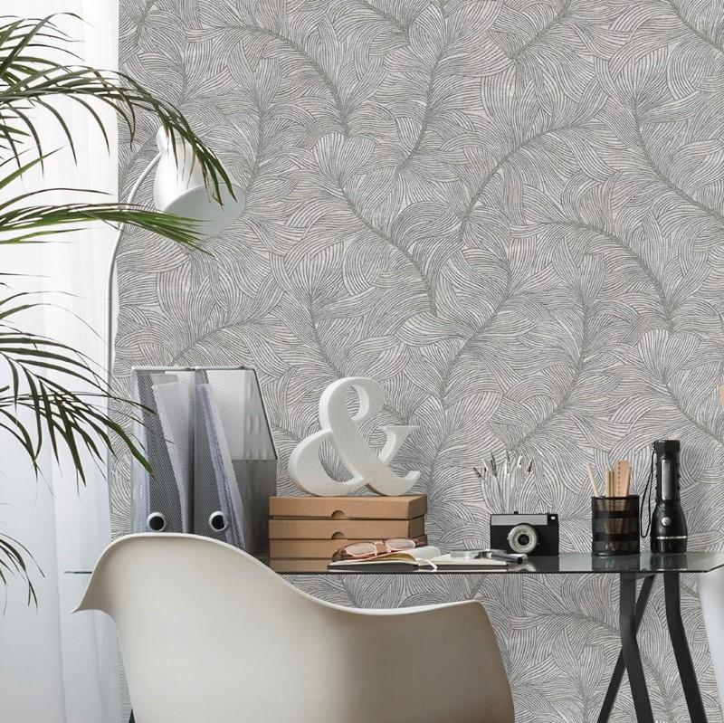 Belgravia Wallpapers Merano Leaf Texture Gunmetal Wallpaper