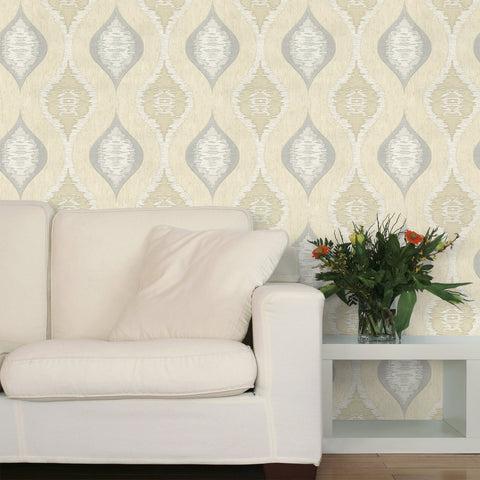 Belgravia Wallpapers San Marino Cream and Silver Wallpaper