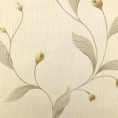 Belgravia Wallpapers Tiffany Platinum Taupe / Silver Floral Wallpaper