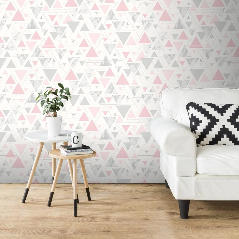 Chantilly Triangles Pink / Grey Wallpaper