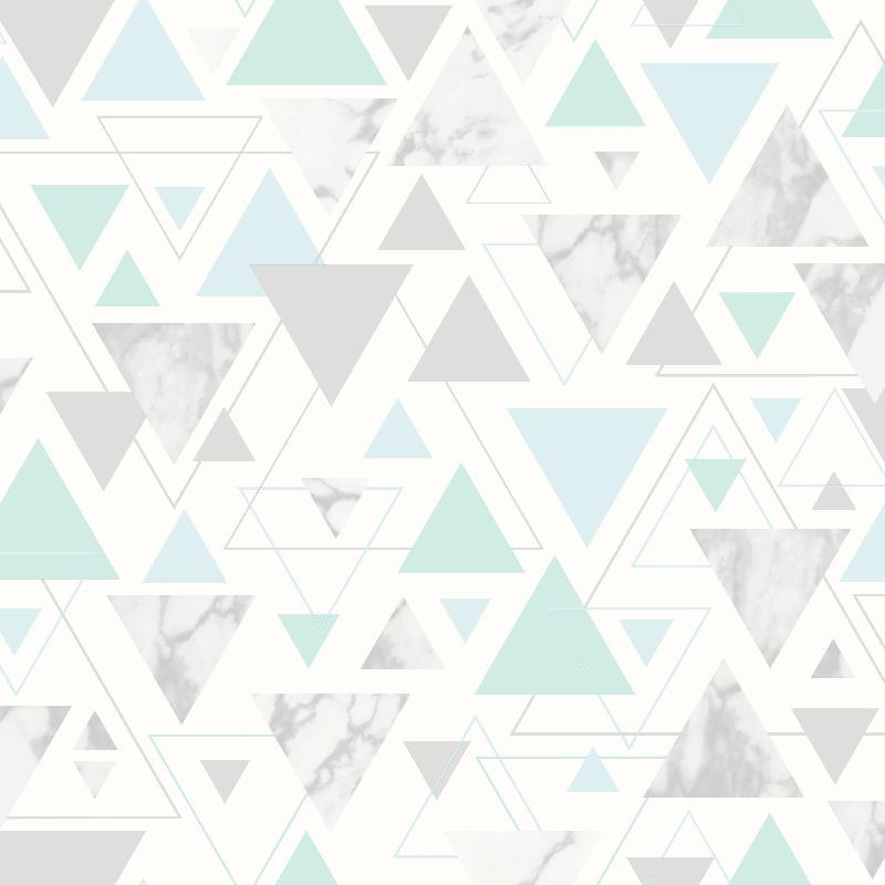 Chantilly Triangles Blue / Silver Wallpaper