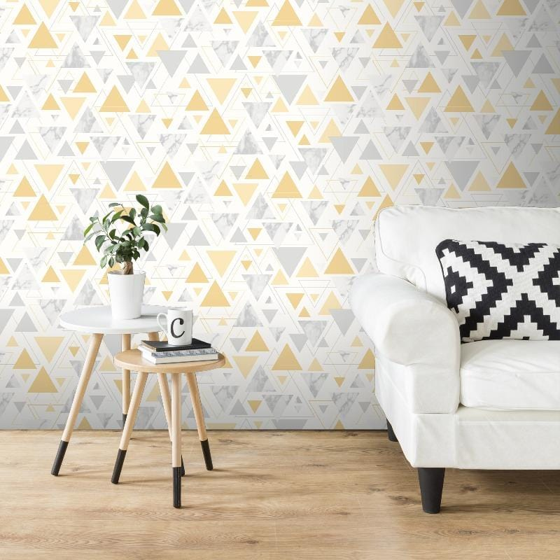 Chantilly Triangles Yellow / Grey Wallpaper