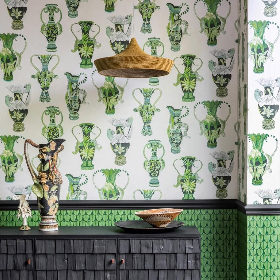 Cole and Son Wallpapers Ardmore Green Khulu Vases Wallpaper