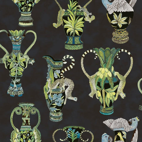 Cole and Son Wallpapers Ardmore Midnight Blue / Green Khulu Vases Wallpaper