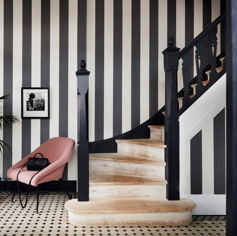 Cole and Son Wallpapers Marquee Black and White Jaspe Stripe Wallpaper
