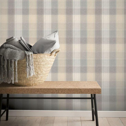 Country Check Grey Wallpaper