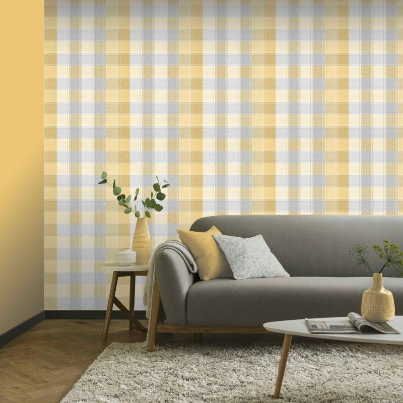 Country Check Yellow Ochre Wallpaper