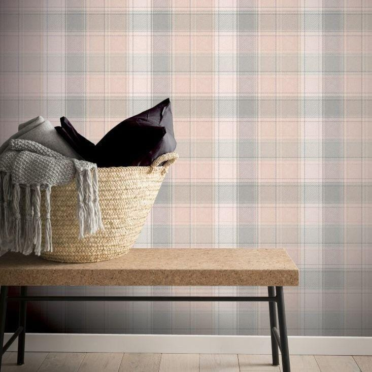 Country Check Pink and Grey Wallpaper