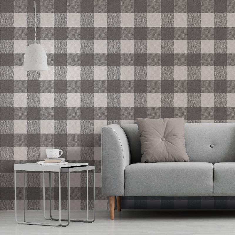 Glamorous Check Charcoal Grey Wallpaper