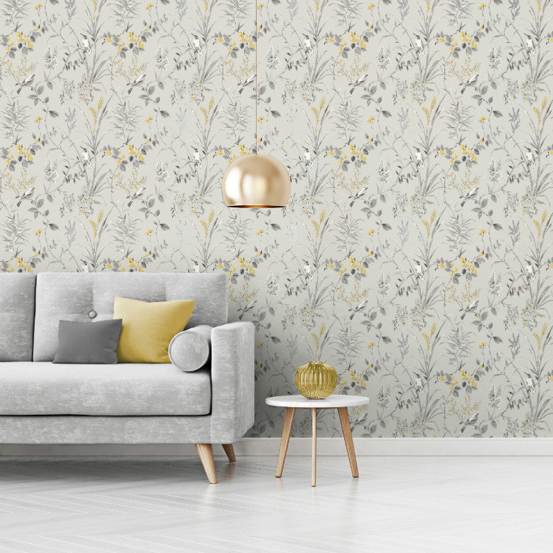 Mariko Floral Birds Grey / Yellow Wallpaper