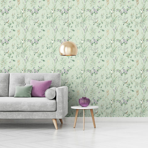 Mariko Floral Birds Mint Green / Plum Wallpaper