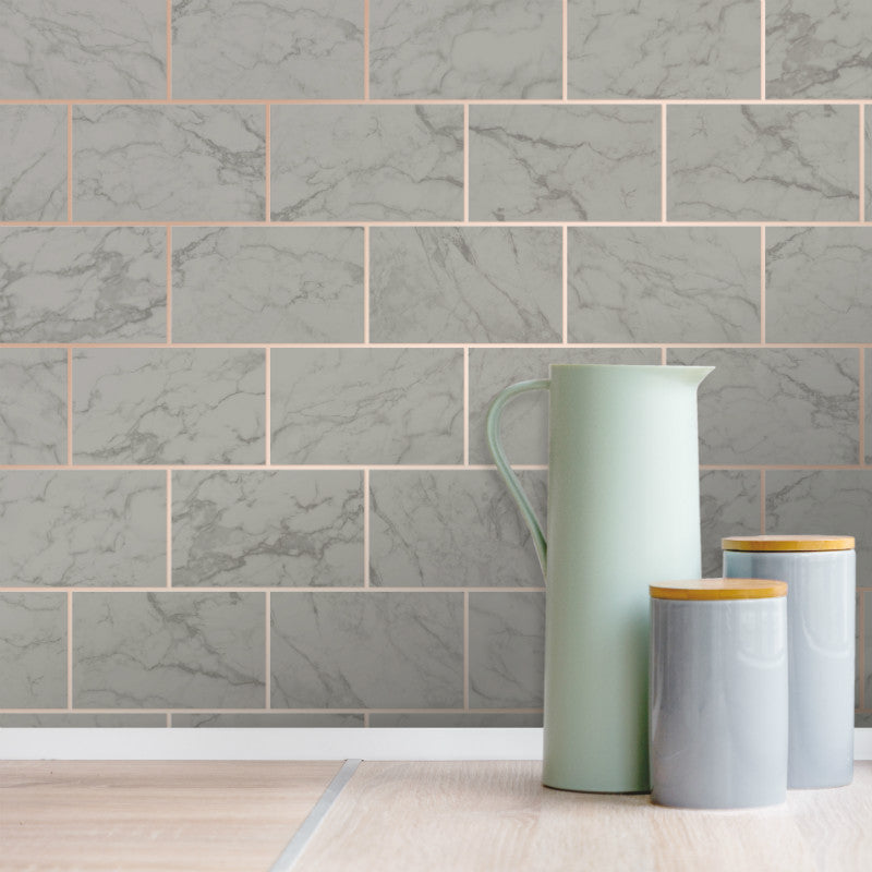 Metro Marble Tile Charcoal Grey / Copper Wallpaper