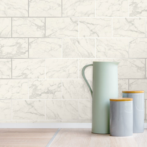 Metro Marble Tile White / Silver Wallpaper