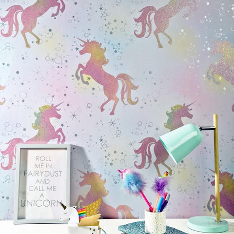 Crown Wallcoverings Wallpapers Be Dazzled Dancing Unicorn Rainbow Wallpaper