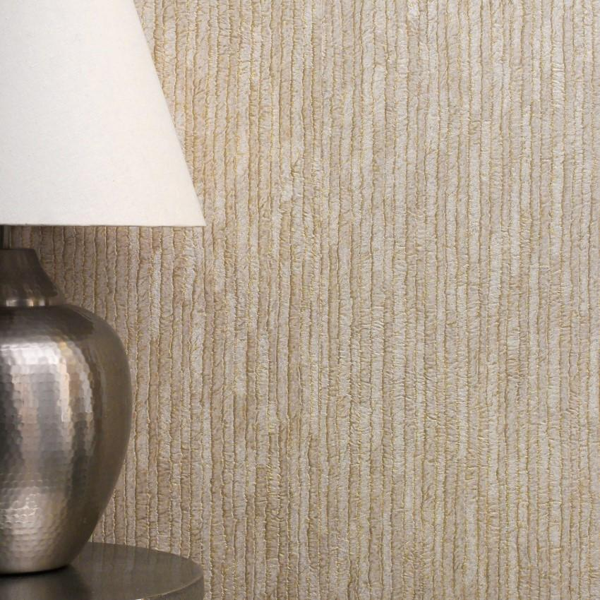 Crown Wallcoverings Wallpapers Bergamo Leather Texture Light Gold / Beige Wallpaper