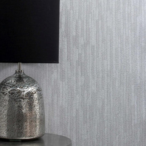 Crown Wallcoverings Wallpapers Bergamo Leather Texture Off White / Silver Wallpaper