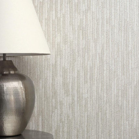 Crown Wallcoverings Wallpapers Bergamo Leather Texture Silver / Cream Wallpaper