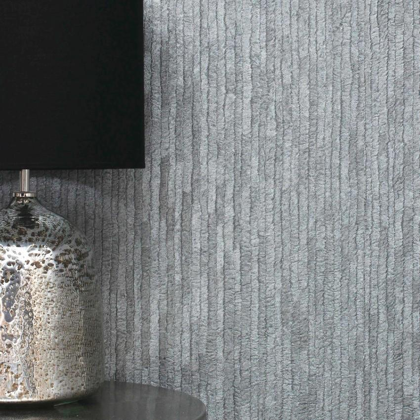 Crown Wallcoverings Wallpapers Bergamo Leather Texture Silver / Dark Grey Wallpaper