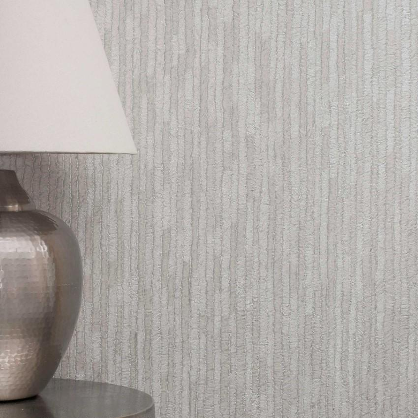 Crown Wallcoverings Wallpapers Bergamo Leather Texture Silver / Light Grey Wallpaper