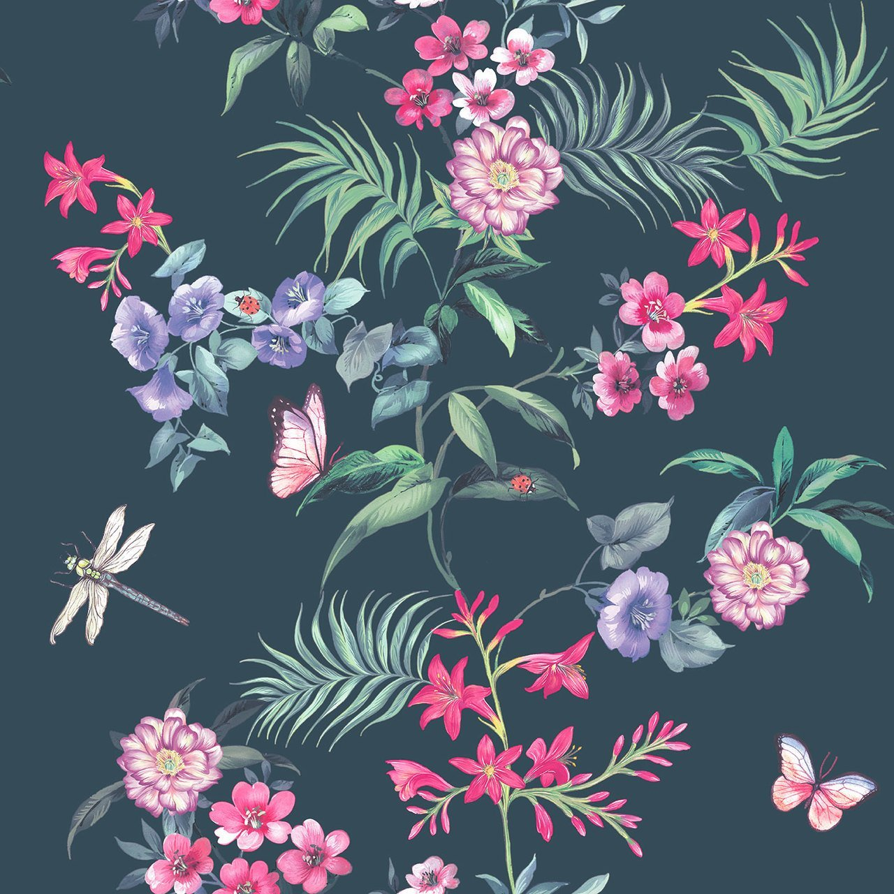 Carmen Blue Tropical Floral Wallpaper