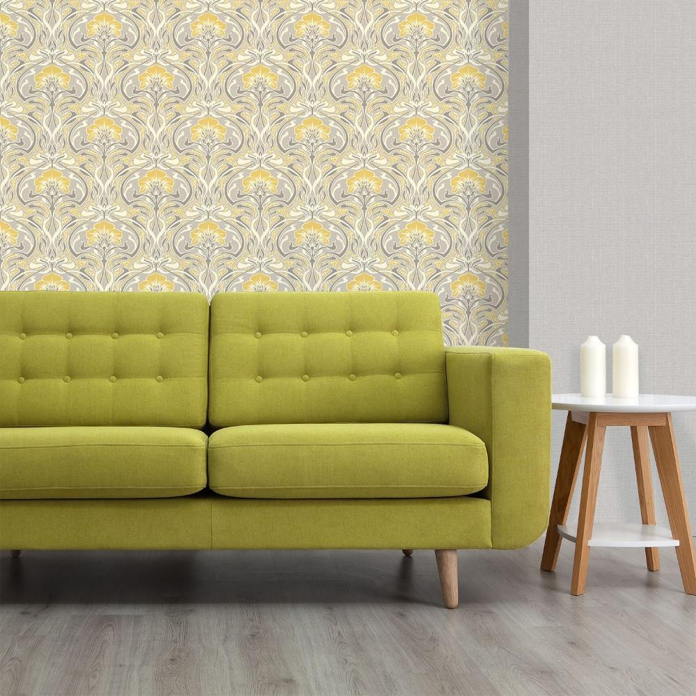 Crown Wallcoverings Wallpapers Flora Nouveau Grey & Yellow Retro Floral Wallpaper