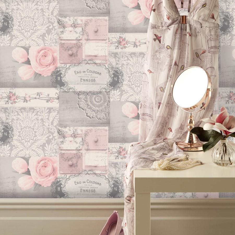 Ophelia Decoupage Blush Pink And Silver Pretty Collage Wallpaper M1426