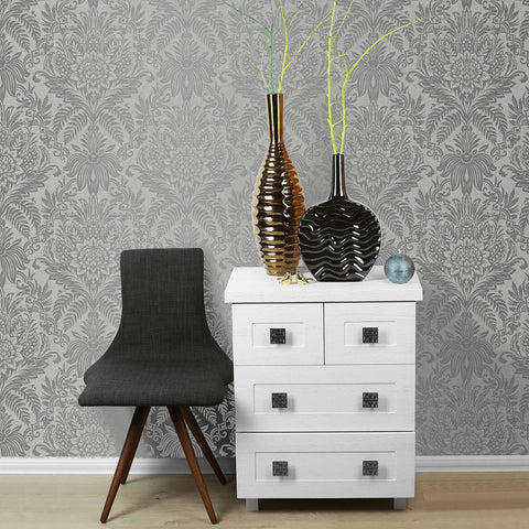 Crown Wallcoverings Wallpapers Signature Silver and Grey Damask Wallpaper