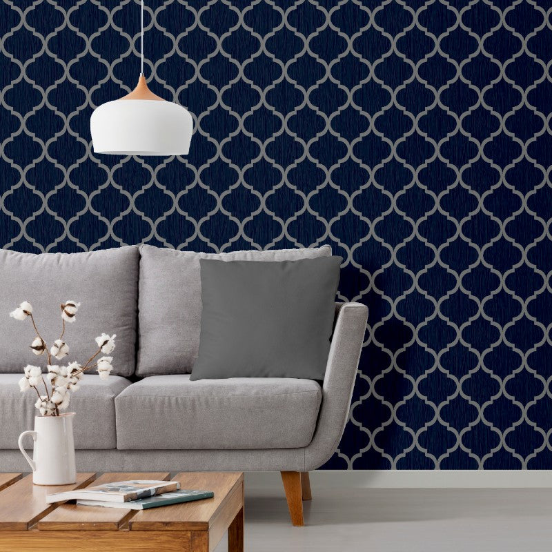 Crystal Trellis Blue / Silver Wallpaper