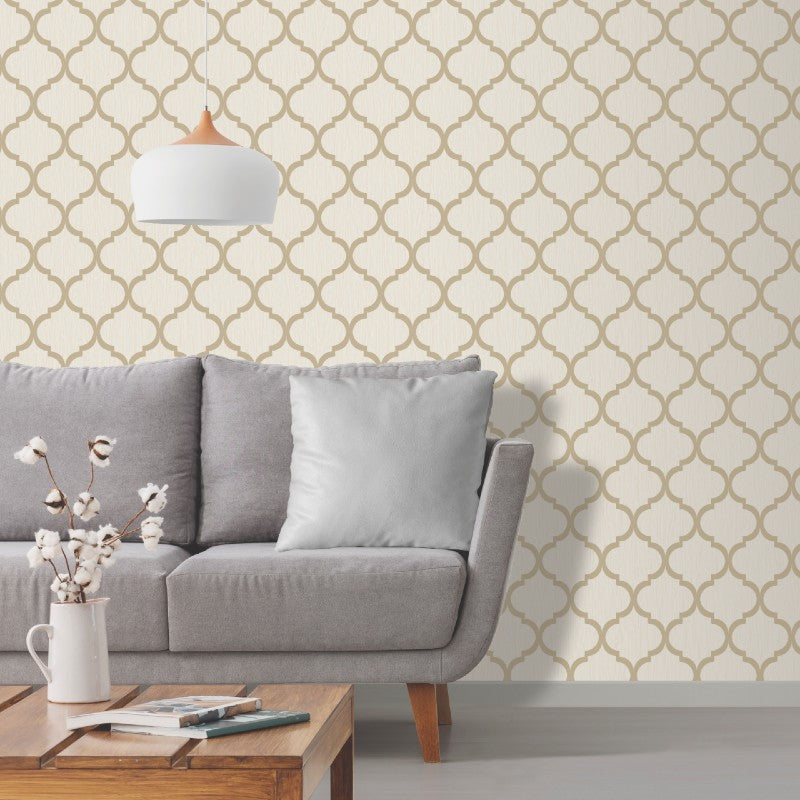Crystal Trellis Ivory Cream / Gold Wallpaper