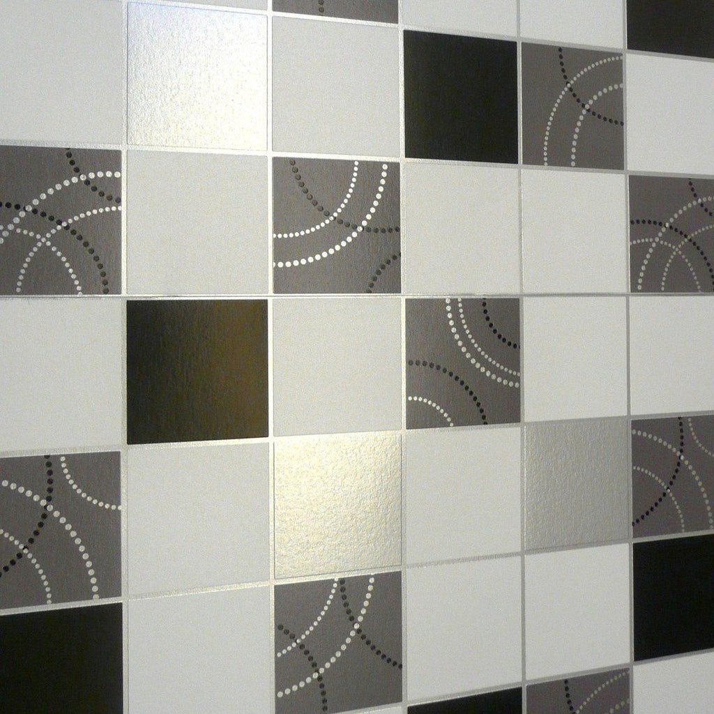 Debona Wallpapers Dotty Black / Silver Tiles Wallpaper