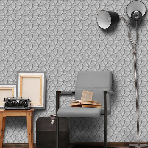 Debona Wallpapers Juniper Silver / Grey 3D Effect Flower Wallpaper