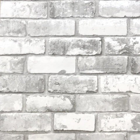 Debona Wallpapers White Grey Brick Wallpaper
