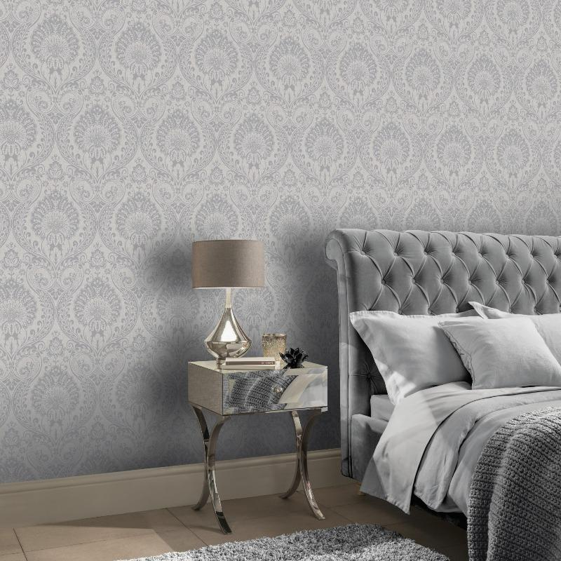 Decoris Silver Damask Wallpaper For Bedroom And Living Room 906609