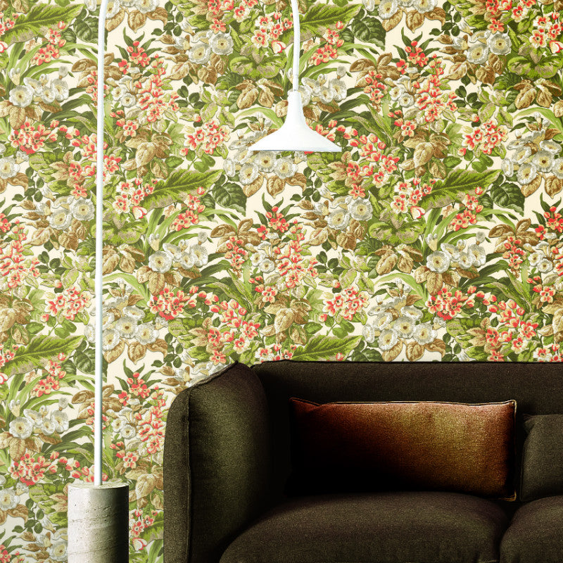 Beaux Arts 2 Floral Green / White Wallpaper
