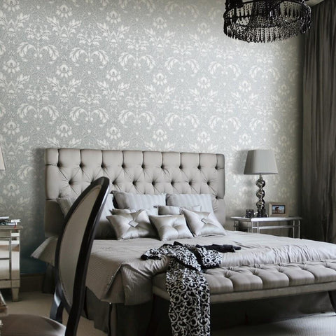 Design ID Wallpapers Concerto Silver Damask Wallpaper