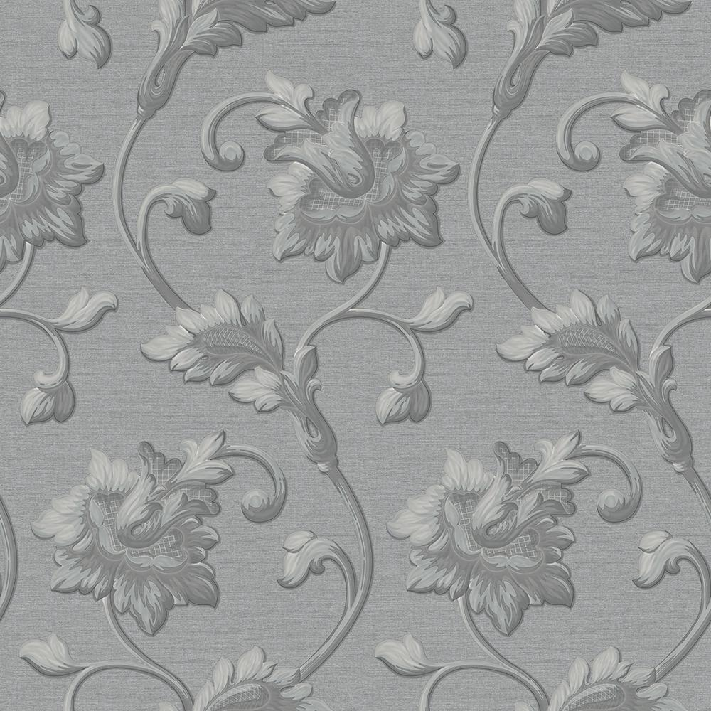 Goodwood Grey And Silver Floral Wallpaper By Ascot Wallpapers Jc1002 3